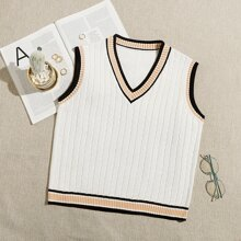 Cable Knit Striped Sweater Vest