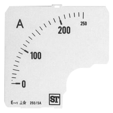 Sifam Tinsley Analogue Ammeter Scale, 250A, for use with 72 x 72 Analogue Panel Ammeter
