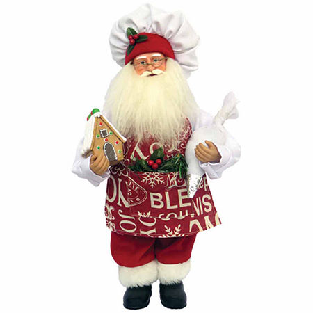 Hand Painted Santa Figurine, One Size , Red
