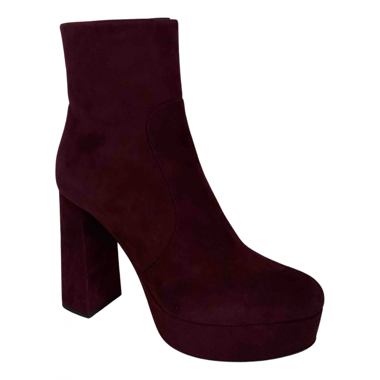 Prada N Burgundy Suede Ankle boots for Women 40 IT