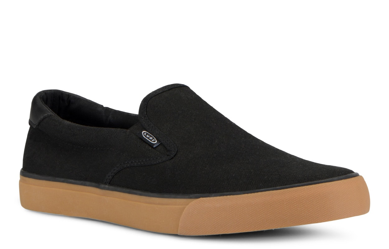 Men's Clipper Slip-On Sneaker (Choose Your Color: Black/Gum, Choose Your Size: 10.0)