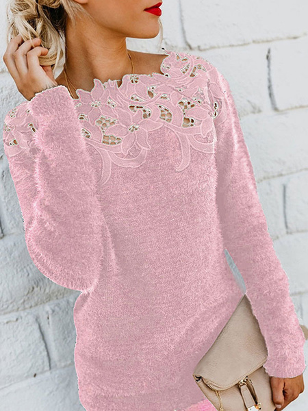 Milanoo Women Fuzzy Sweater Lace Bateau Neck Long Sleeves Pullover Sweaters