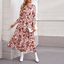 Flippy Hem Tie Neck Floral Print Dress