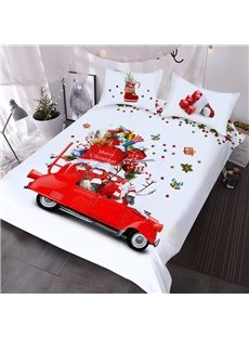 Christmas Themed 3D Comforter 3-Piece Soft Red Car Comforter Sets with 2 Pillowcases