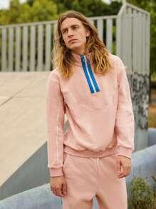 Men Zipper Half Placket Contrast Piping Sweatshirt & Striped Side Joggers Set
