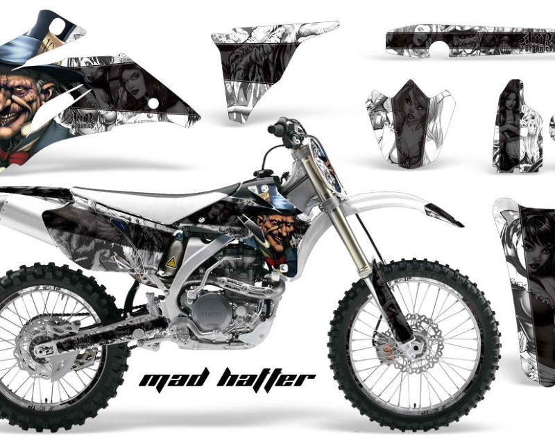 AMR Racing Graphics MX-NP-YAM-YZ250F-YZ450F-06-09-HAT K W Kit Decal Wrap + # Plates For Yamaha YZ250F YZ450F 2006-2009áHATTER BLACK WHITE