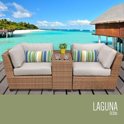 LAGUNA-03b-BEIGE Laguna 3 Piece Outdoor Wicker Patio Furniture Set 03b with 2 Covers: Wheat and