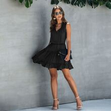 Vestidos Volante Liso Negro Casual