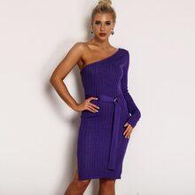 One Shoulder Rib-knit Belted Pencil Dress