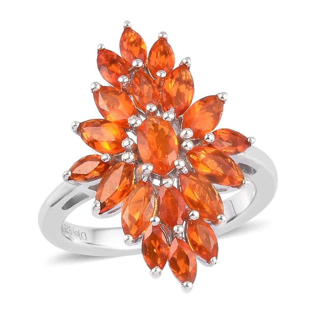 Platinum Over 925 Sterling Silver Fire Opal Cluster Ring Size 8 Ct 1.4 - Ring 8 (Opal - Orange - Orange - Ring 8)