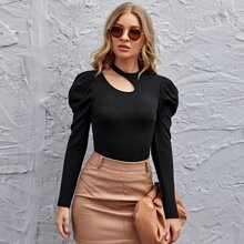 Gigot Sleeve Cut Out Detail Top