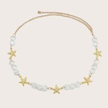 Rhinestone Starfish & Shell Chain Belt