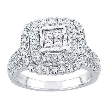Womens 1 CT. T.W. Genuine White Diamond 10K White Gold Engagement Ring, 6 1/2 , No Color Family