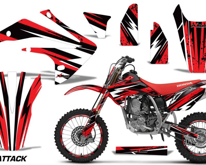 AMR Racing Graphics MX-NP-HON-CRF150R-17-18-AT R Kit Decal Sticker Wrap + # Plates For Honda CRF150R 2017-2018 ATTACK RED