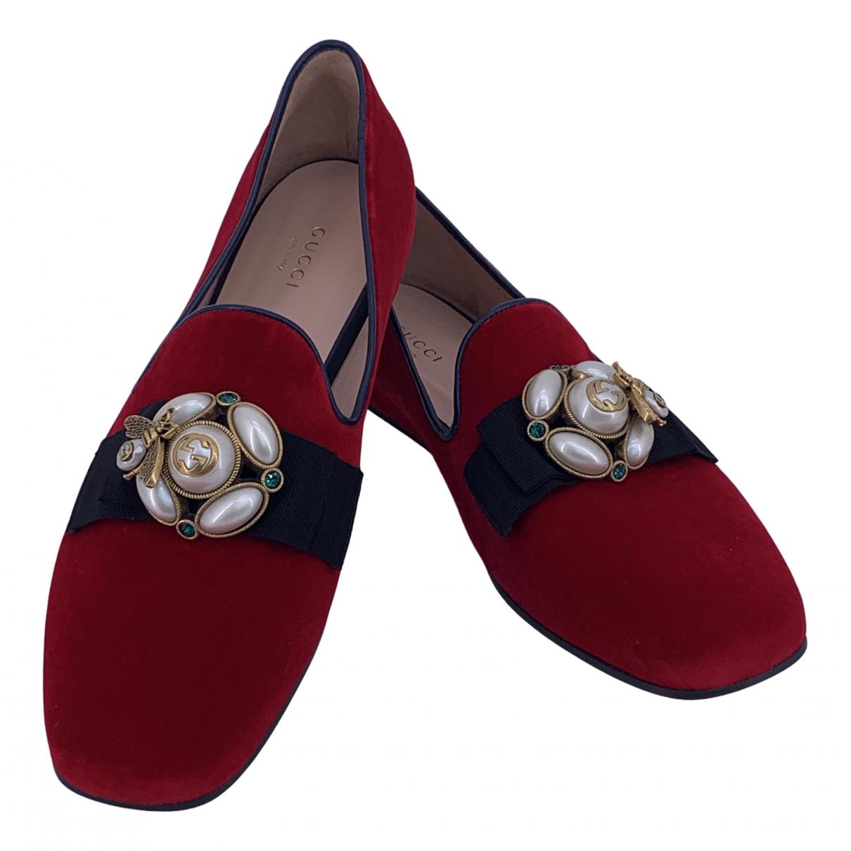 Gucci - Ballerines   pour femme en velours - rouge