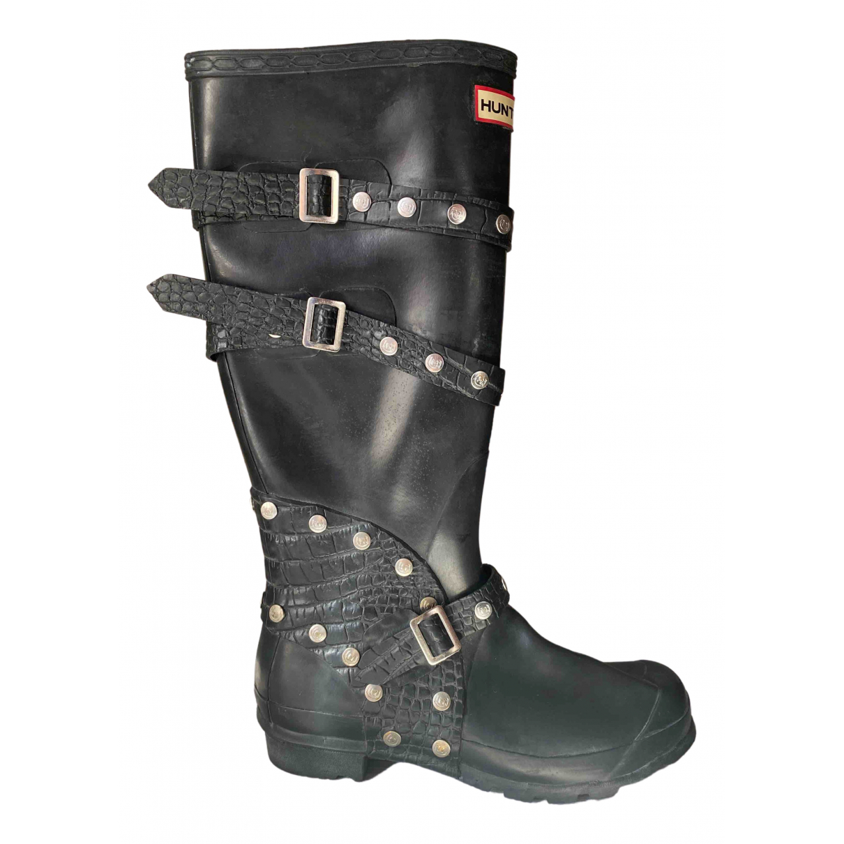 Hunter N Black Rubber Boots for Women 3 US