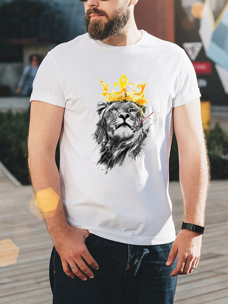 Yoins Men Summer Casual White Animal Print Round Neck T-Shirt