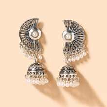 Pendientes con fleco de perla artificial
