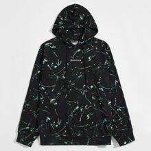 Men Allover Print Letter Embroidery Hoodie