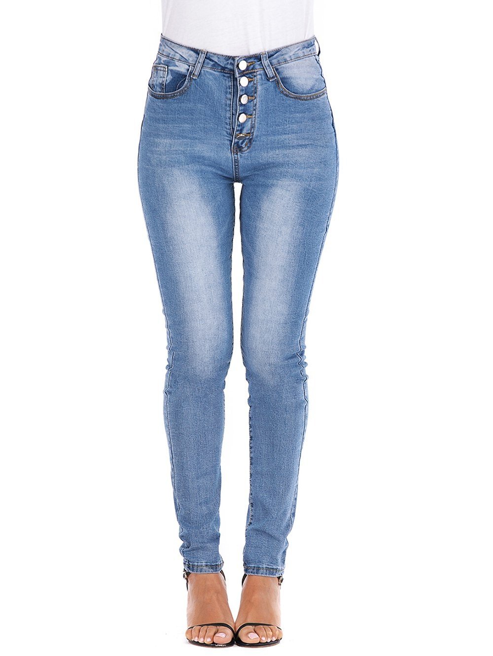 Button Fly High Waisted Skinny Jeans