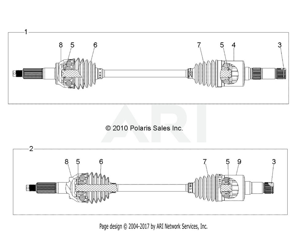 Polaris OEM 1332895 ASM., DRIVE SHAFT, REAR, RH | [INCL. 3, 5-9]