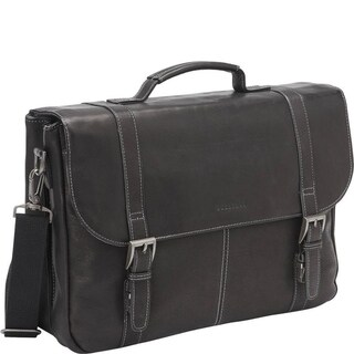 Heritage Travelware Full-Grain Colombian Leather 16-inch Laptop & Tablet Flapover Business Briefcase (Black)