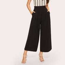 Pantalones anchos con bolsillo oblicuo con cremallera lateral