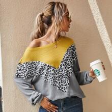 Sweatshirt mit sehr tief angesetzter Schulterpartie, Cut And Sew und Chevron Muster