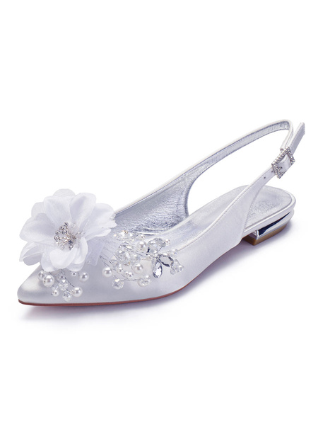 Milanoo Wedding Shoes Ivory Satin Sequins Pointed Toe Flat Sling Back Bridal Shoes