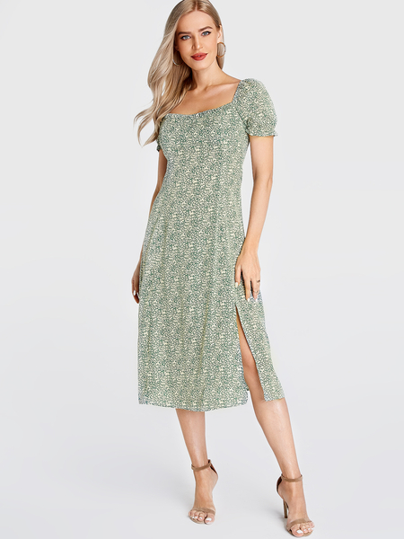 Yoins Green Calico Square Neck Puff Sleeves Dress