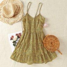 Allover Print Shirred Back Cami Dress