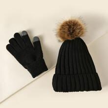 Muetze mit Pompon Dekor & Handschuhe