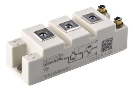 Semikron SKM195GB066D, SEMITRANS2 , N-Channel Dual Half Bridge IGBT Module, 265 A max, 600 V, Panel Mount