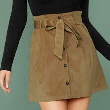 Button Up Belted Cord Skirt