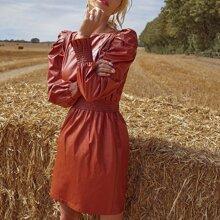 PU Leder Kleid mit Raffung Einsatz und Gigot Ärmeln