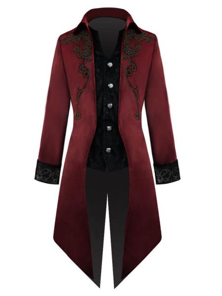 Milanoo Disfraz Halloween Black Vintage Coat Edad Media Tuxedo Velour bordado Trajes retro para hombre Carnaval Halloween