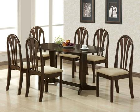 Stockholm Collection 02190TE6C 7 PC Dining Room Set with Dining Table + 6 Side Chairs in Espresso
