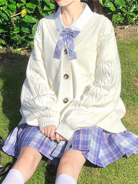 Milanoo Academic Lolita Coats White Polyester Overcoat Coat Winter Lolita Outwears Knitted Cardigan Jacket
