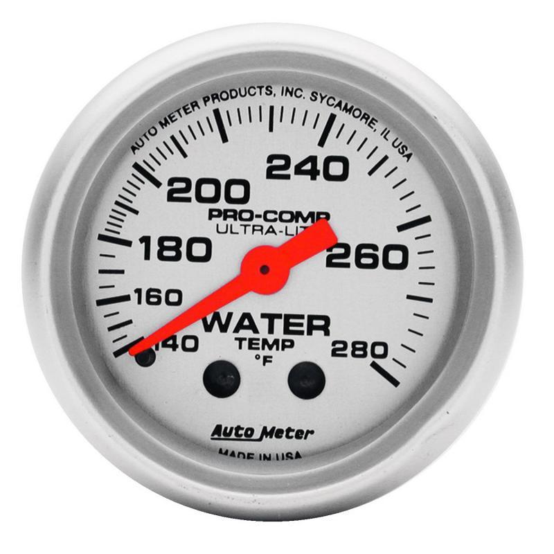 AutoMeter GAUGE; WATER TEMP; 2 1/16in.; 140-280deg.F; MECHANICAL; ULTRA-LITE