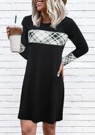 Plaid Splicing O-Neck Mini Dress - Black