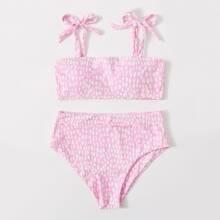 Allover Print Tie Shoulder Bikini Swimsuit