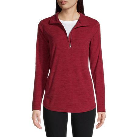 St. John's Bay Active Womens Mock Neck Long Sleeve Quarter-Zip Pullover, Large , Red