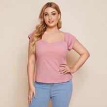 Grau-rosa Rippenstrick Einfarbig Laessig T-Shirts Grosse Grossen