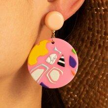 Geometric Pattern Round Drop Earrings