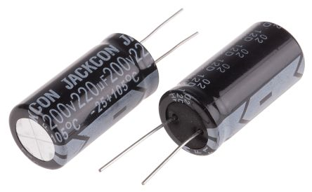 RS PRO 220μF Electrolytic Capacitor 200V dc, Through Hole (2)
