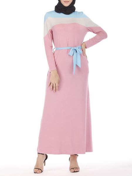 Milanoo Women Kaftan Dress Arabian Clothing Pink Muslim Long Sleeves Color Block Dress