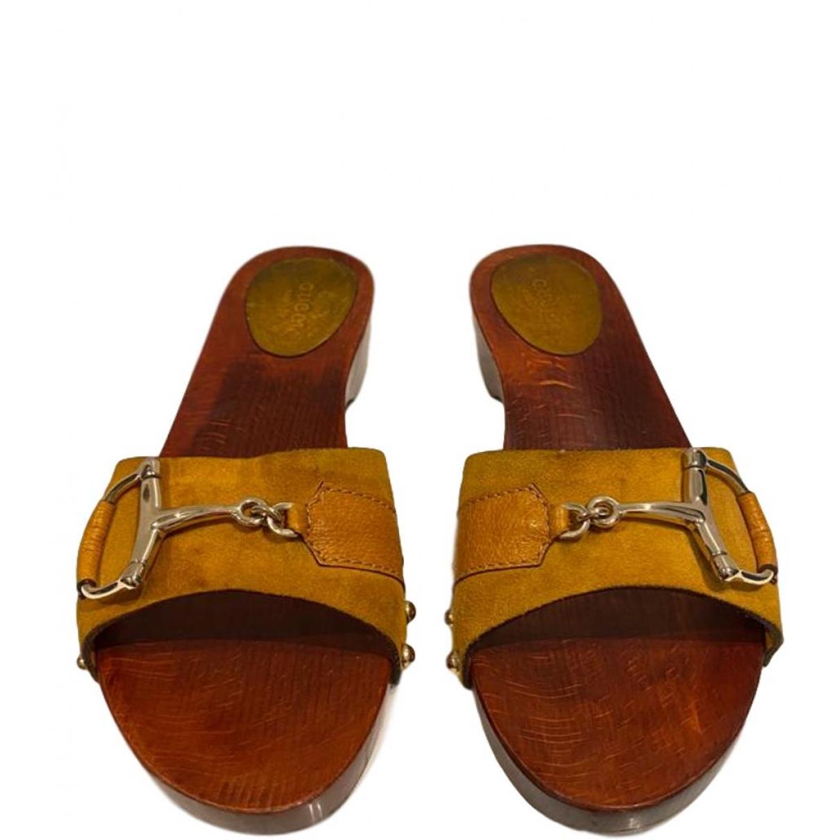 Gucci - Sabots   pour femme en cuir - marron