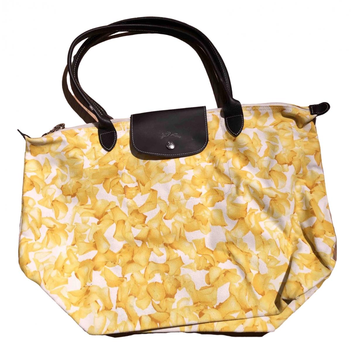 Longchamp - Sac a main Pliage  pour femme en coton - jaune