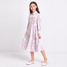 Girls Guipure Lace Trim Floral Shirt Dress