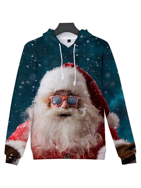 Milanoo Unisex Christmas Hoodie Santa Clause Print Christmas Holidays Costumes